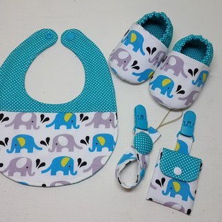 Elephant in water births ceremony Bibs Baby Shoes + + + talismans pocket clip pacifier clip chain