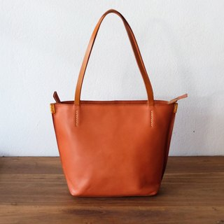 Small Orange Brown Leather Tote Bag / Tan Leather Zipper Handbag