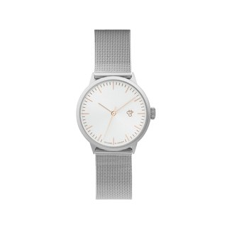 Nando Mini Silver Dial (Rose Gold Hands) - Silver Milan Adjustable Watch