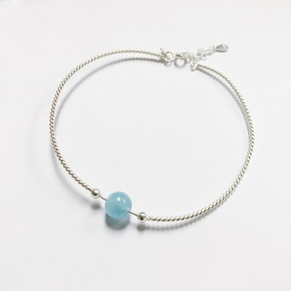 Blessing  Personalized Aquamarinl Bracelet Bangle Silver