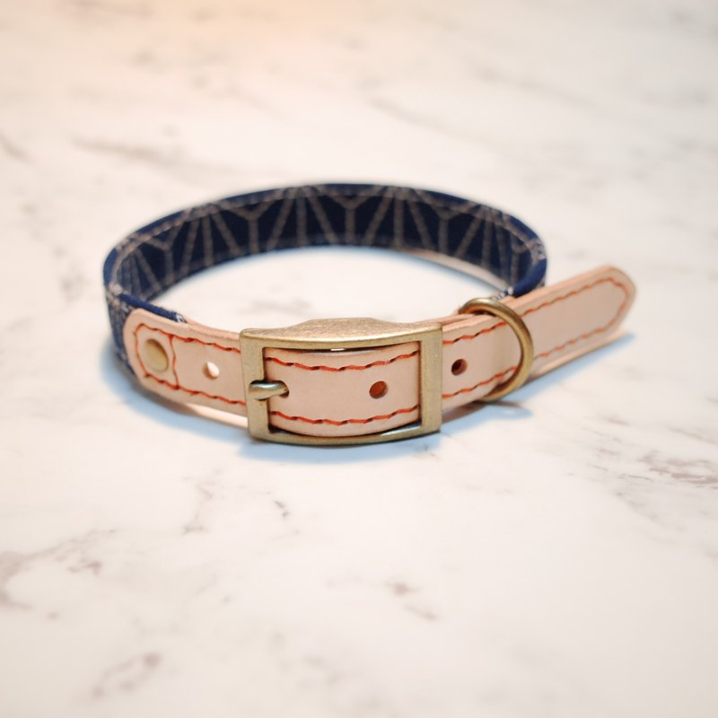 Dog collars, M size, Deep blue line & dots_DCT090438