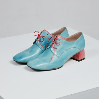H THREE classic square head derby heel / water blue / thick heel / retro