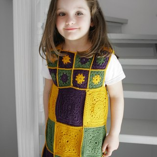 Colorful girl dress, vintage style wool dress, granny square tunic with flowers