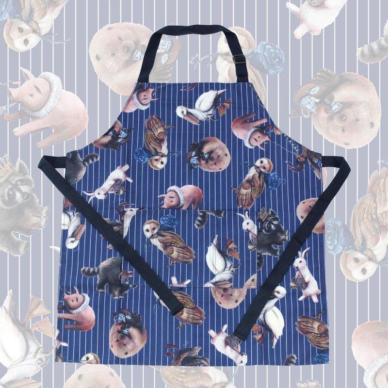 動物茶會圍裙(深藍&淺灰條紋)