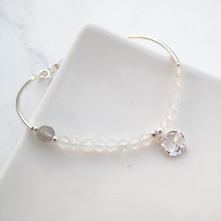 囡仔仔仔 [handmade silver] gray moonlight × labradorite × white crystal romantic sterling silver bracelet