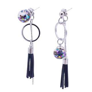 Unbalance Tassel Snowball Earrings