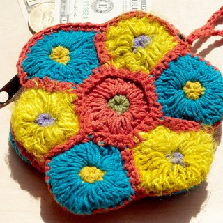 Eastern European wind handmade sari wire crocheted purse / Storage bag / Cosmetic Bag - Sunshine sense flowers forest department Purse