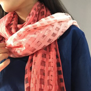 Zhuo also blue dyed - plant dyed plaid scarf