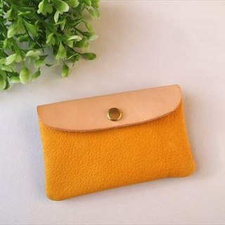 [Yellow × red] pig leather soft card case [MTO] Leather Pass Case