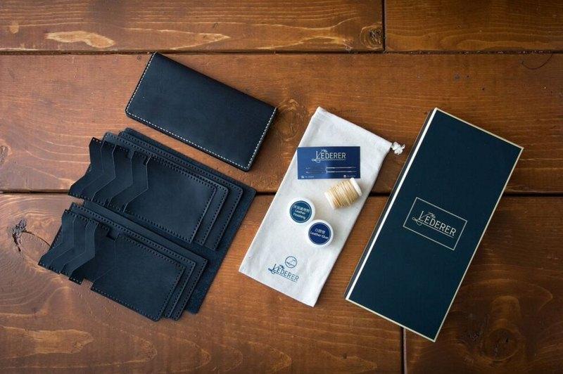 情侶套裝 3卡相片短夾 + 10卡長夾。手縫皮革材料包。SPS005