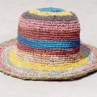 Limited edition handmade knitted cotton hats / braided hat / fisherman hat / sun hat / straw hat - stroll in the Mediterranean colorful striped handmade hat
