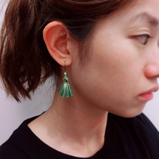 Green blend classic tassel earring ear hook ear clip