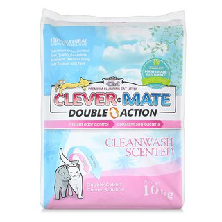 Clever cat litter 100% natural bentonite + deodorant + antibacterial Double Action double powerful 10 kg (fresh fragrance)