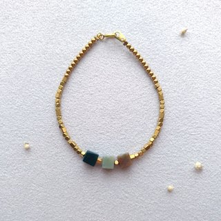 [Three lines. Good friend. Brass agate bracelet