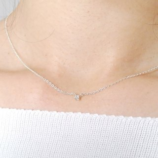 Sterling Silver Tiny CZ Diamond Necklace