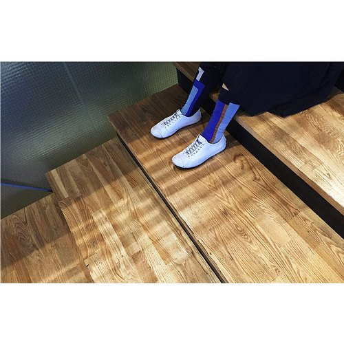 靴下ブルーラグーン/ irregular / socks / stripes / blue