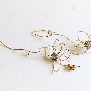 Flying Fly Tung 14KGF Earring Clips Tong Blooms 14KGF earring. Birthday Gift