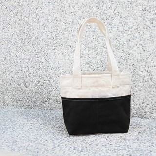 Thick canvas color matching double pocket handbag (shoulder/top bag) - Black