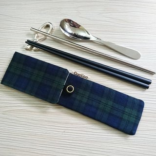 Green tableware storage bag combination chopsticks special Scottish Plaid double chopsticks bag