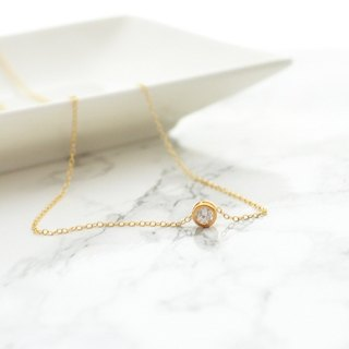 Necklace / 14KGF Round CZ Necklace / Ko鍊 TokiSho 简单
