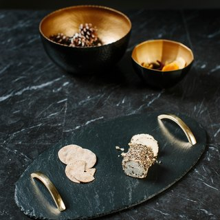 【UK】●Oval Serving Tray with Gold Handles)●  The Just Slate Company