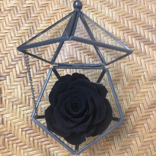 Pentagonal glass jewellery box swan black withered roses