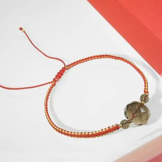 Edith & Jaz • Smoky Quartz with Red Cord Bracelet