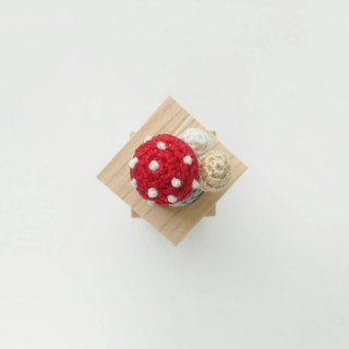 Red Polka Dots Crochet Button Cover