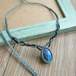 Misssheep-N87-Ethnic style two-color South American wax line braided labradorite necklace / clavicle chain