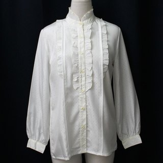 [RE0407T1932] Department of Forestry sweet vintage French white stand-up collar shirt