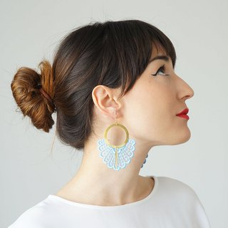 BLUE Statement Earrings Spring Fashion Summer Trends Lace Earrings Boho-Chic Fashion Bohemian Earrings Gift for Her Women Accessory Gift/ GELARI