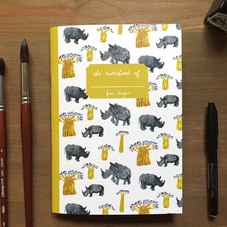 Rhino and bread tree African animal notebook A5 checkered notebook