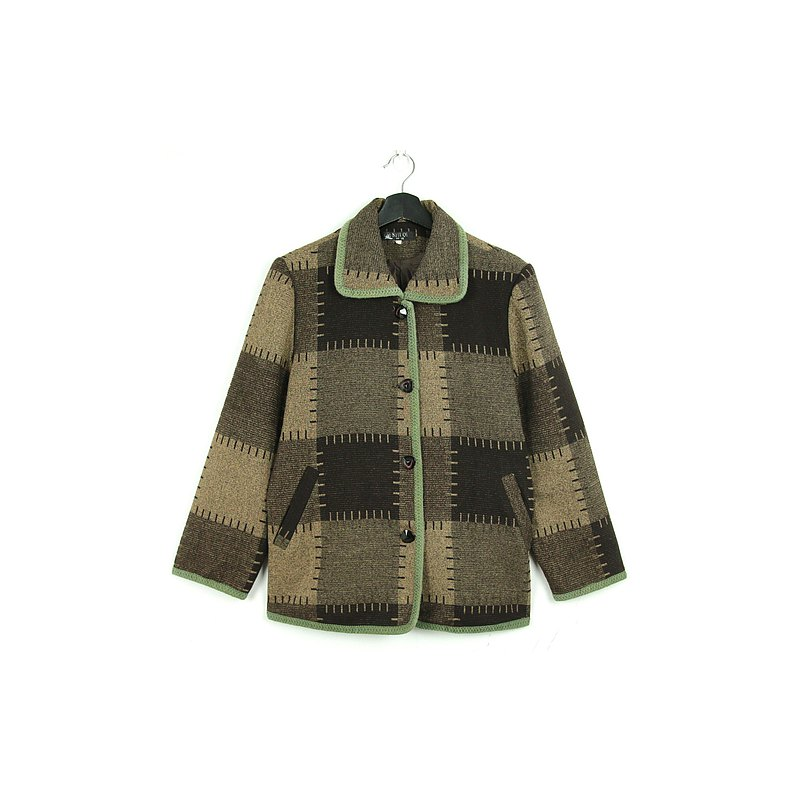 Back to Green-Warm stitching large plaid/vintage