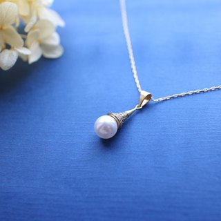 Golden bell- Pearl brass necklace