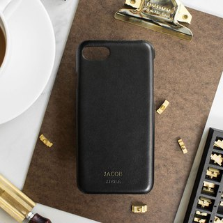 Can be lettering iPhone 7/8 4.7 吋 leather anti-splash phone case - black