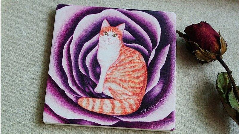 心愛的玫瑰貓陶瓷吸水杯墊+同款明信片