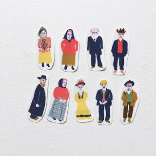 Vintage People 1892 Elise Island character hand-cut transparent sticker pack a pack of 9 into