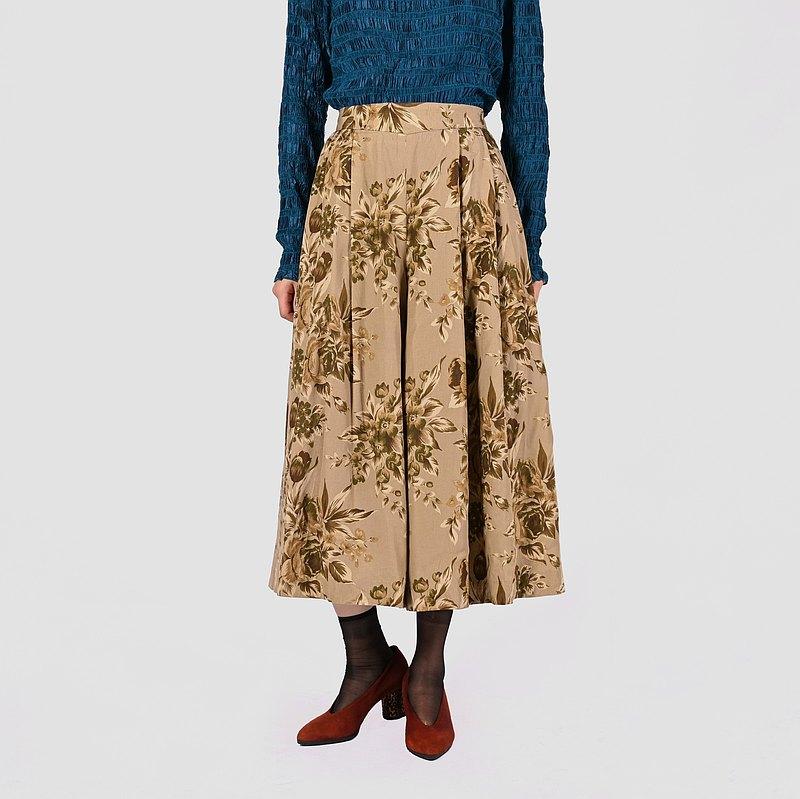 【蛋植物古著】乾燥花卉印花高腰古著寬褲裙