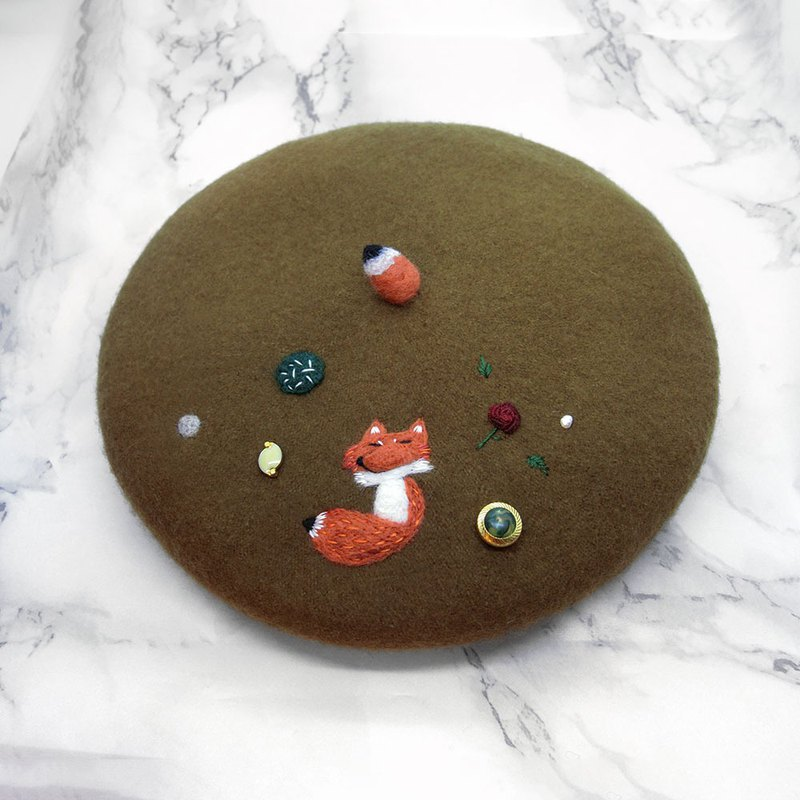 [Shell art] 100% pure wool felt beret (fox and rose)
