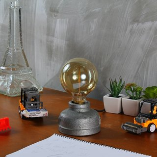 [Kuleqi Studio] metal small round table lamp / industrial wind / birthday gift / bulb tungsten bulb