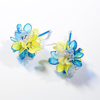 Flower Ball Blue x Yellow Handmade Jewelry Earrings Pair