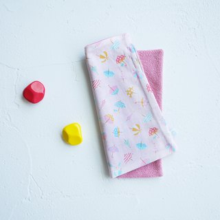 Organic Cotton Embroidered Handkerchief Towel - Pink Umbrella