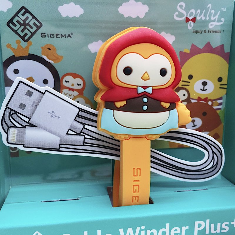 Cute Owl Cartoon Character Cable Winder Plus (Little Red Riding Hood - Owky) - E016SQE