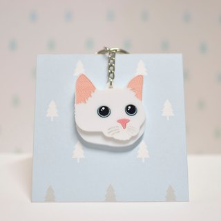 White cat - key ring acrylic