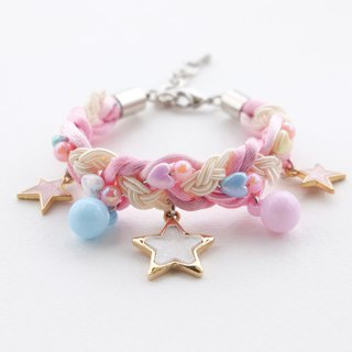 Pink blue braided bracelet with white glittering and lilac stars