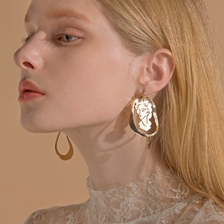 【Mell】 Portrait Stainless Steel Earrings Earrings Stud Earrings