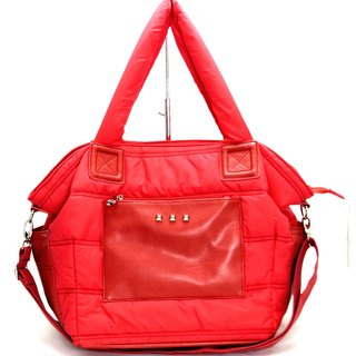 Easy loose light nylon cotton dual - use bag (handbag / shoulder bag) ---- Carol red red