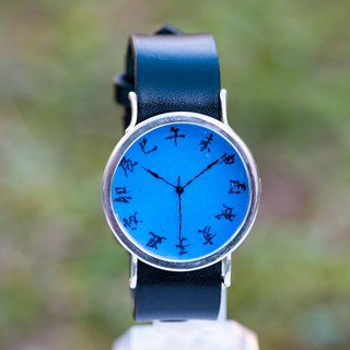 Edo letter wristwatch L deep blue Si