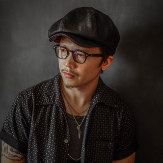 HEYOU Handmade –Full Veg-Tanned Leather Newsboy Cap -Kelvin