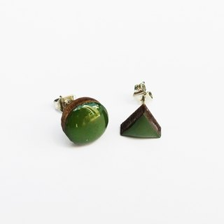 Tiny geometric triangle earrings with round wood - dark green